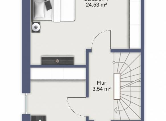Obergeschoss mit 2 Schlafzimmern