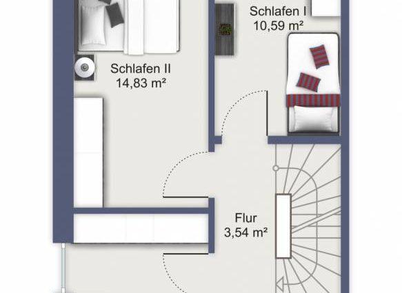 Obergeschoss mit 3 Schlafzimmern